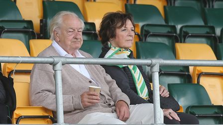 Norwich City's joint majority shareholders Delia Smith and Michael Wynn Jones were watching on from