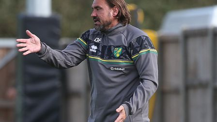 Canaries head coach Daniel Farke directs proceedings during his team's 6-0 friendly win over MK Dons