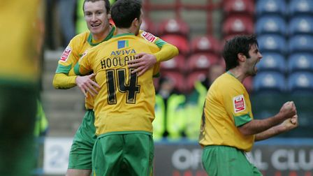 Stephen Elliott celebrates after scoring the second goal against Huddersfield Town in a League One m