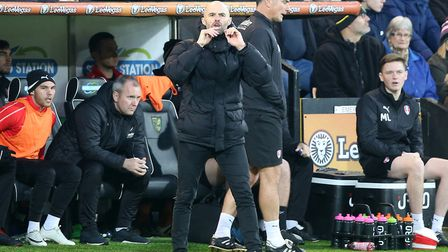 Rotherham manager Paul Warne - and Norwich fan - on the touchline during a game at Carrow Road in De