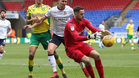 Remi Matthews collects the ball during Bolton's 4-0 defeat to Norwich City in the Championship in Fe