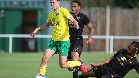 Kieran Dowell was among the summer signings in action for Norwich City against MK Dons on Friday Pic