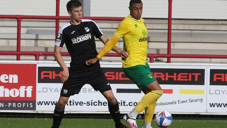 Adam Idah of Norwich in action during the Pre-season friendly match at SPORTCLUB Arena, VerlPicture