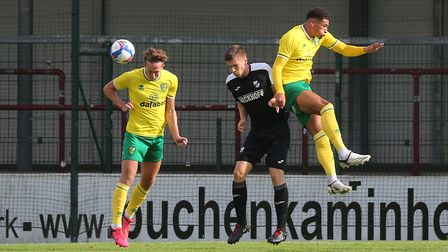 Christoph Zimmermann of Norwich heads clear during the Pre-season friendly match at SPORTCLUB Arena,