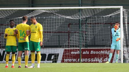 Michael McGovern of Norwich organises his wall during the Pre-season friendly match at SPORTCLUB Are