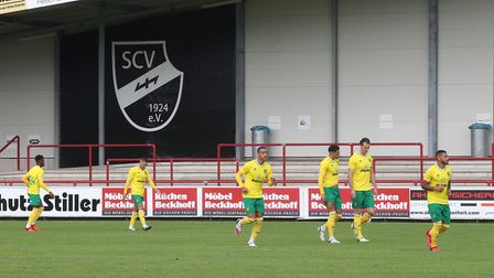 The Norwich players take to the pitch before the Pre-season friendly match at SPORTCLUB Arena, VerlP