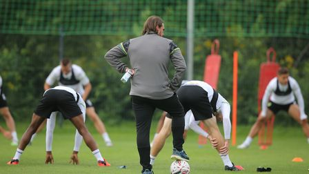 Norwich Head Coach Daniel Farke watches closely during training at Hotel-Residence Klosterpforte, Ha
