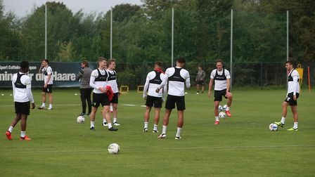 The Norwich players during training at Hotel-Residence Klosterpforte, Harsewinkel, Germany.Picture b