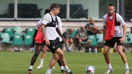 Jordan Hugill of Norwich and Marco Stiepermann of Norwich during training at Hotel-Residence Kloster