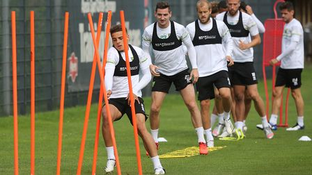 Max Aarons of Norwich and Kenny McLean of Norwich during training at Hotel-Residence Klosterpforte,