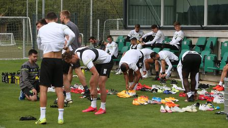 The Norwich players get ready for training at Hotel-Residence Klosterpforte, Harsewinkel, Germany.Pi