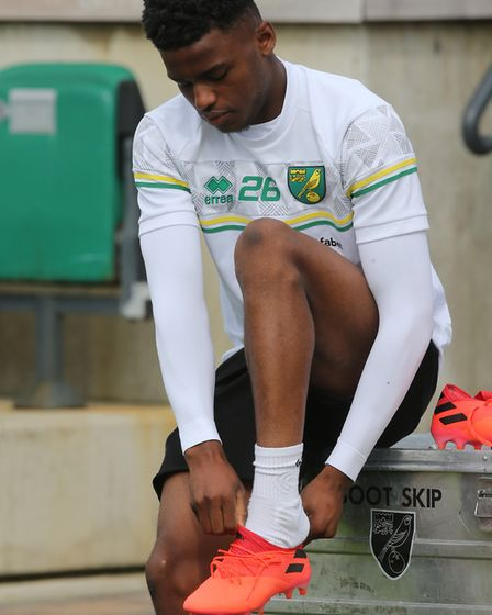 Bali Mumba of Norwich gets ready for training at Hotel-Residence Klosterpforte, Harsewinkel, Germany