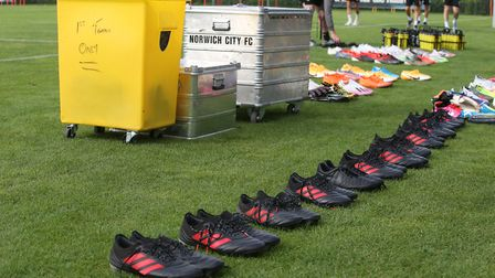 General view of the equipment and boots before the training session at Hotel-Residence Klosterpforte