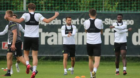 Lukas Rupp of Norwich and Alexander Tettey of Norwich during training at Hotel-Residence Klosterpfor