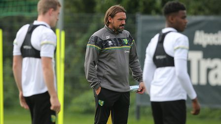 Norwich Head Coach Daniel Farke watches on during training at Hotel-Residence Klosterpforte, Harsewi