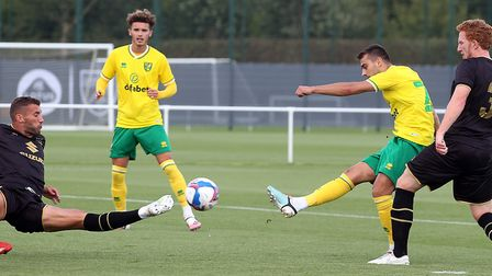 Summer signing Danel Sinani tries a shot at goal during the first half against MK Dons Pictures: Pau