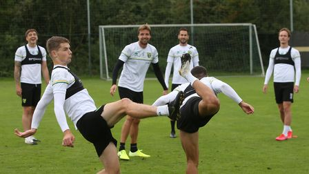 Jacob Sorensen of Norwich and Emiliano Buendia of Norwich during training at Hotel-Residence Kloster