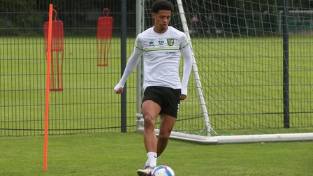 Jamal Lewis of Norwich during training at Hotel-Residence Klosterpforte, Harsewinkel, Germany.Pictur