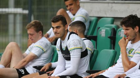 Daniel Sinani of Norwich and Timm Klose of Norwich during training at Hotel-Residence Klosterpforte,