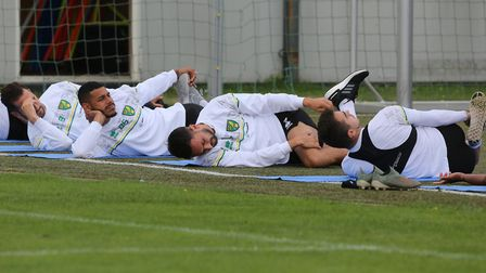 The Norwich players do their stretches before training at Hotel-Residence Klosterpforte, Harsewinkel