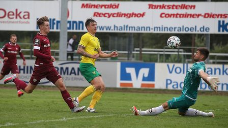 Jordan Hugill of Norwich scores his sides 2nd goal during the Pre-season friendly match at Stadion L
