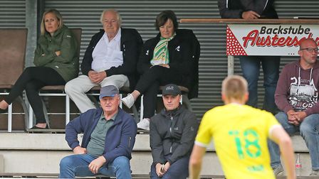 Norwich City's joint majority shareholders Delia Smith and Michael Wynn-Jones watching the game