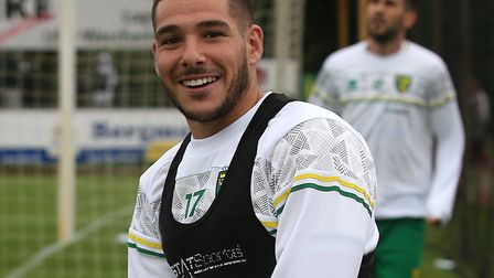 Emi Buendia - all smiles, despite 'not making' it on to the packed team sheet Picture: Paul Chestert