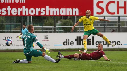 Teemu Pukki lashed home Norwich City's first goal in a 2-0 friendly win over Dynamo Dresden Picture: