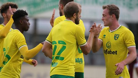 Teemu Pukki opened the scoring as Norwich City beat Dynamo Dresden 2-0 in Delbruck Picture: Paul Che