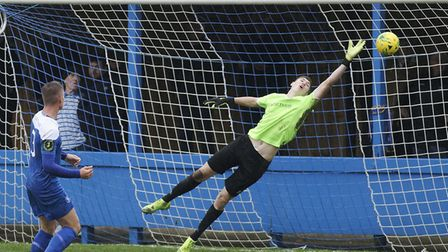 Norwich City goalkeeper Daniel Barden in Isthmian League action for Bury Town last season Picture: P