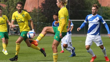 Todd Cantwell in action during Norwich City's second friendly of the day against Darmstadt Picture: