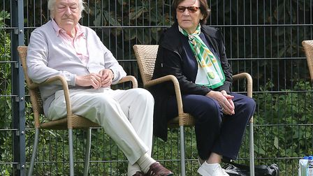 Norwich City's joint majority shareholders Delia Smith and Michael Wynn Jones watched the action aga