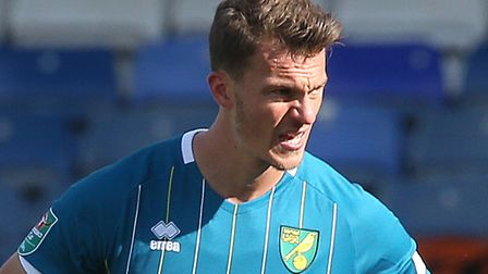 Christoph Zimmermann couldn't prevent Norwich City's loss at Luton in the Carabao Cup Picture: Paul