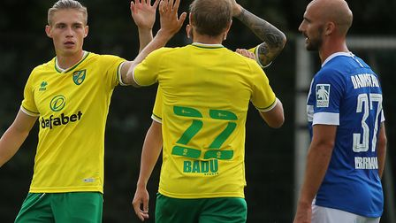 Teemu Pukki keeps the 22 shirt at Norwich this season and Przemyslaw Placheta, left, claims number 1
