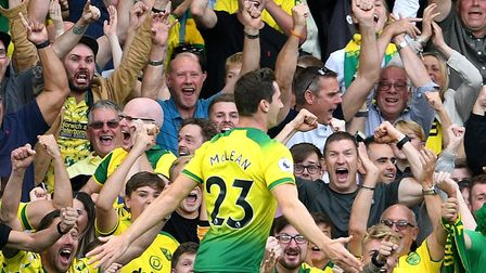 Kenny McLean opened the scoring with a header as Norwich beat Manchester City at Carrow Road last se