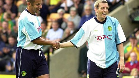 Dale Gordon and Ian Crook, right, in City's centenary kit in 2002 Picture: Archant library