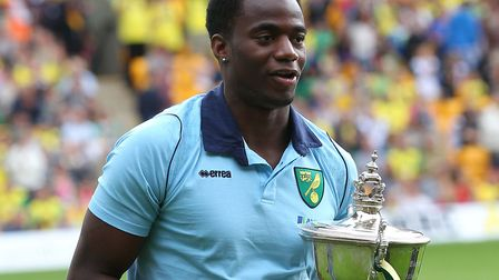 Sebastien Bassong lifted the Barry Butler Memorial Trophy at the end of his first season with Norwic