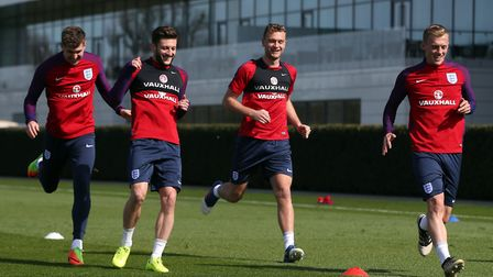Ben Gibson, second right, training with England players John Stones, Adam Lallana and James Ward-Pro