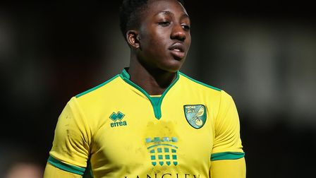 Benny Ashley-Seal in action for Norwich City U18s against Tottenham in the FA Youth Cup in 2017 Pict