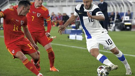 Teemu Pukki in action for Finland during their defeat to Wales Picture: PA