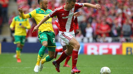 Nathan Redmond and Ben Gibson, then with Middlesbrough, in action during the 2016 Championship play-