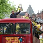 Daniel Farke enjoying Championship success through the streets of Norwich Picture: Paul Chesterton/F