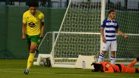 Andrew Omobamidele celebrates opening the scoring for the Canaries. Picture: Norwich City FC