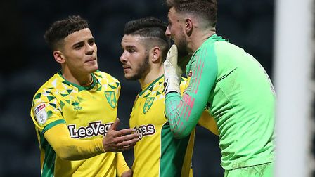Preston keeper Declan Rudd and Norwich defender Max Aarons clashed as North End beat Norwich 3-1 in