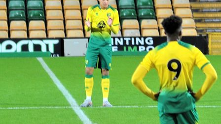 Norwich City U18s striker Tom Dickson-Peters ahead of the FA Youth Cup win over Newcastle at Carrow