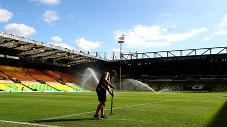 Sounds off... for now, but the South Stand will be home to 1,000 fans this afternoon Picture: PA