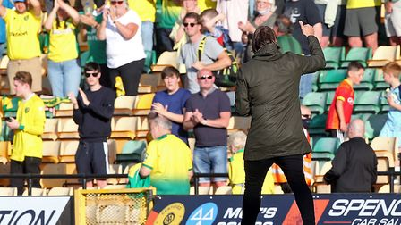 Daniel Farke salutes the 1,000 season ticket holders at the end of Norwich City's 2-2 Championship d