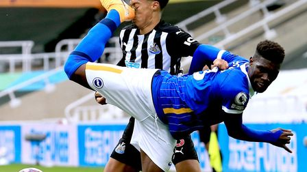 Jamal Lewis was kicked in the face by Brighton's Yves Bissouma on his Newcastle home debut in a chal