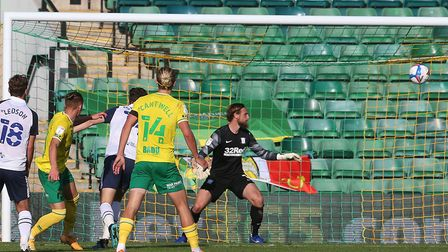 Declan Rudd could only watch as Przemyslaw Placheta equalised for Norwich Picture: Paul Chesterton/F