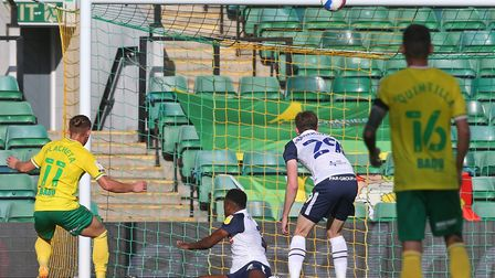 Przemyslaw Placheta missed this chance to equalise earlier for the Canaries Picture: Paul Chesterton